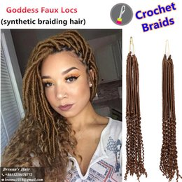 """$enCountryForm.capitalKeyWord NZ - Synthetic ombre Braiding 20"""" 24strands pack Ombre Color Kanekalon Synthetic Hair Goddess Faux Locs Curly Crochet Hair Braids for black women"""