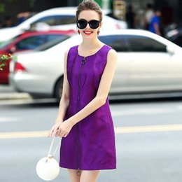 Pure Silk Clothing Canada - 2017 Fall New Women's Clothing Pure Color Silk Spell Wool Blended Sleeveless Round Collar Render Vest Dress