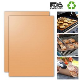 Gold Pans Wholesale Canada - Barbecue Grilling Liner BBQ Copper Grill Mat Portable Non-stick and Reusable 33*40CM 0.2MM Black Gold Oven Hotplate Mats X019