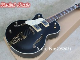 white guitar black hardware 2019 - wholesale Free Shipping-Semi-hollow Electric Guitar,Left-hand Version,Black Body,Gold Hardware,White Pickguard,can be Cu