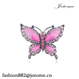 "enamel rose brooch Canada - 100PCS Lot 2.25"" width X 1.75"" height Rose Pink Czech Crystal Rhinestone Butterfly Pin Brooch Hand Painted Enamel"