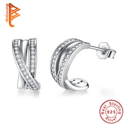 China BELAWANG Wholesale Genuine 925 Sterling Silver Stud Earrings For Women Cross Infinity Love Fashion Wedding Engagement Earring Jewelry Gift supplier infinity earrings suppliers