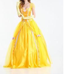 Хэллоуин костюм Принцесса платье желтый цвет с луком взрослых красоты и диких зверей танец косплей тема костюмы ролевые игры