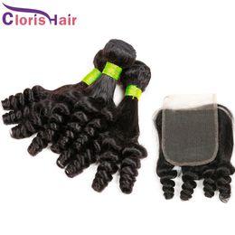 Discount cheap bundles curly hair closure - Peruvian Hair Bundles With Lace Closure Unprocessed Aunty Funmi Egg Curls Human Hair Weave Closures Cheap Funmi Hair Ext