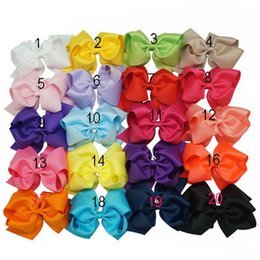 Ribbons For Hair Canada - 20Color 6 Inch Kids Christmas Hair Ribbon Bows Girls Hair Clips Solid Headwear Hairbands Holiday Gift For Kid Girl Hair Accessory 20 pcs lot