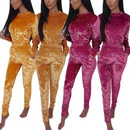Women Velvet Clothes Canada - Fashion Winter and Autumn Women Clothes Set Female Velvet Long Sleeve Turtleneck Top Pullovers Pant Ladies Clothes