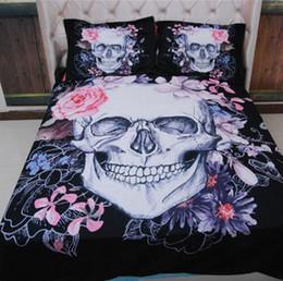 Europa Style Skull Flower Design Cotone poliestere 3 pezzi Set biancheria da letto Federa matrimoniale Queen King Super King Size 401