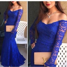 Barato Vestidos De Noiva Sem Costura-Vestido azul royal Mermaid Lace Applique Vestidos de noite Neck Strapless Off ombro manga comprida Sweep Train Prom Vestidos