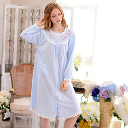 09283fb404 Women New Autumn Nightgowns Long-Sleeve 100% Woven Cotton Round Neck  Nightgown Floral Women s Sleepwear Nightdress Tracksuit