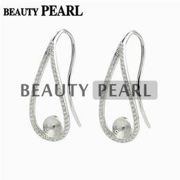 $enCountryForm.capitalKeyWord Canada - Ear Wire Cubic Zirconia Paved 925 Sterling Silver Earrings Blank Base Pearl Jewellery Findings 5 Pairs