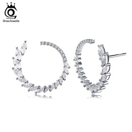 Discount rhodium plated cz - Fashion Round Shape Stud Earrings Luxury Brand Solid Sterling Silver 925 Earring Women Jewelry with Austrian CZ SE31