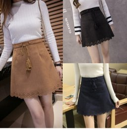 0893693cdf4 New women s autumn fashion lacing high waist a-line hollow out floral suede  leather short skirt plus size SMLXLXXL3XL