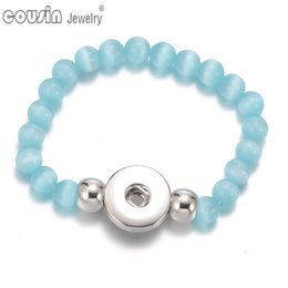 Button Opal Canada - SZ0444 Fashion Jewelry Handmade Natural Stone Bracelet Men fit 18mm Snap Button Blue Opal Beaded Bracelets for Women
