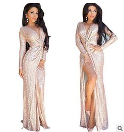 Robes De Devant Nouées Pas Cher-Sexy Club Wear Party Dress Femmes Gold Knot Deep V Neck Twist Front High Slit Long Sleeve Sequin Maxi Dress