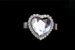 Crystal Ring Napkin Holder Wholesale NZ - Wholesale- 12pcs Heart Clear Crystal + Rhinestones Napkin Ring Serviette Buckle Holder For Wedding Banquet Dinner Decoration Favor