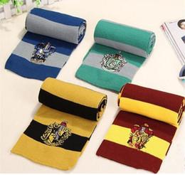 Toptan satış Harry Potter Eşarp Gryffindor Okul Unisex Örme Çizgili Eşarp Gryffindor Scarve Harry Potter Hufflepuff Eşarp Cosplay