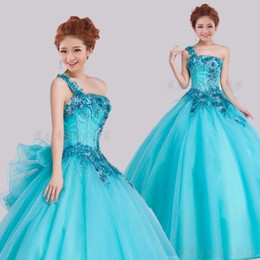 Freeship single shoudler blue big bowtie flower beading embroidery ball gown stage stuido performance dance  carnival gown on Sale