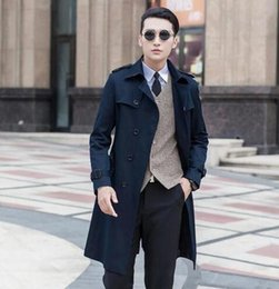 Barato Casaco Preto 6xl-Black blue bege 2017 slim sexy long trench coat homens britânico fashion double breasted mens trench coat overcoat plus tamanho 8XL 9XL