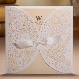 Silk invitationS online shopping - White Beige Laser Cutting Flowers and Silk Tie Wedding Invitations Cards with Envelopes and Seals Free Printing