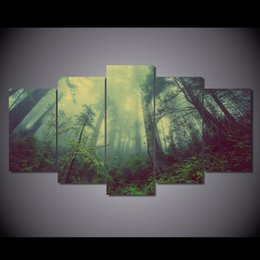 Canvas Prints Free Shipping Australia - 5 Pcs Set Framed Printed forest green fog Painting Canvas Print room decor print poster picture canvas Free shipping NY-6281