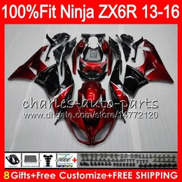 Red black kawasaki zx6R online shopping - 8Gifts Injection For KAWASAKI NINJA ZX636 ZX6R CC red black NO2 ZX ZX R ZX ZX R Fairing