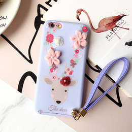Wholesale iphone6 phone shell for sale - Group buy 3D Flower Wrist Strap Soft Phone Case for Apple iPhone6 s Animal Deer Cover for iPhone Plus TPU Anti knock Protective Shell