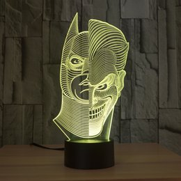 Painting Faces Australia - Two-Face Man Joker and Batman 3D Abstract Visual 7 Kinds of Colors Change Touch Keys USB Desk Lamp