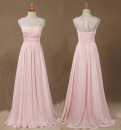 $enCountryForm.capitalKeyWord NZ - Pink A-line Princess Floor-length Chiffon Lace Bridesmaid Dress Sleeveless Jewel Neckline See Through Back Prom Dress Real Pictures