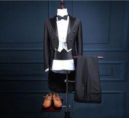 $enCountryForm.capitalKeyWord Canada - Groom Tuxedos Tailcoat Groomsman Blazer Men's Wedding Dress Prom Clothing Tuxedos (Jacket+pants+Vest) Black Long Style Male Suit