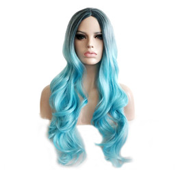 $enCountryForm.capitalKeyWord UK - WoodFestival african american wig women long wavy synthetic hair wigs heat resistant fiber wig blue black ombre cosplay