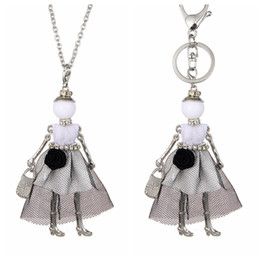 Girl doll necklaces online shopping - Wholesales Lovely France Dance Doll Necklace Pendant Doll Pendant New Fashion KeyChains Jewelry For Women Girl Styles Accessories Gifts