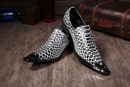 $enCountryForm.capitalKeyWord Canada - Fashions Black And White Striped Leather Shoes Spring Metal Pointed Bussines Shoes For Man formal mens dress shoes