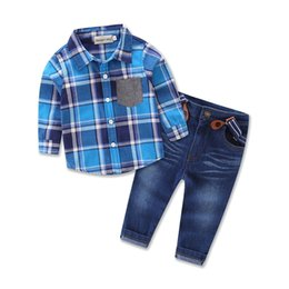 Chinese  Boys plaids outfits 3pc set outfits blue plaids shirt+belt+denim trousers kids causal suspender jeans trousers sets autumn children clothing manufacturers