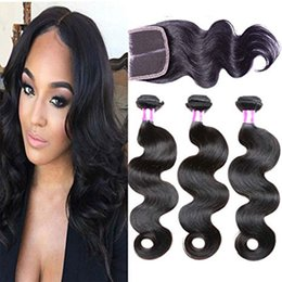 $enCountryForm.capitalKeyWord NZ - 4X4 closure Brazilian Body Wave Hair 100 Human Hair Weave Bundles virgin Remy Natural Black Color 4 Bundles or Mixed Length