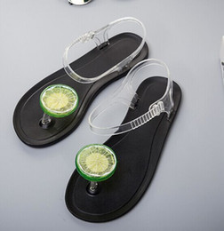 Jelly shoes transparent flats online shopping - 2017 lemon flat with female sandals flat transparent jelly sweet students thong plastic beach shoes