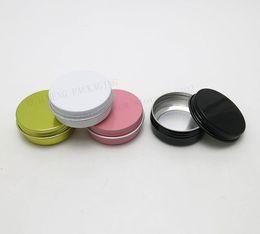 Discount gold cream jars - Wholesale- 100 x 30g aluminum metal cream make up jars 1 oz silver aluminum tin 30g cosmetic container Matte black pink