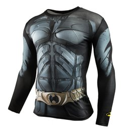 T-shirts Superman Pour Hommes Pas Cher-x201710 Hommes Crossfit manches longues Compression Shirt 3D Anime Super héros Superman Captain America T Shirt Collants Fitness Hommes Tops Tees