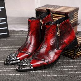 Discount cowboy boots wedding dress - men's Leather Dress Shoes Martin Boots Pointed Personality Trend Hairstylist Red Cowboy Boots paitywedding dress ca