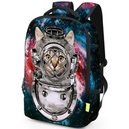 Backpack pictures online shopping - Outer space cat backpack Universe travel daypack Picture schoolbag Casual rucksack Sport school bag Outdoor day pack