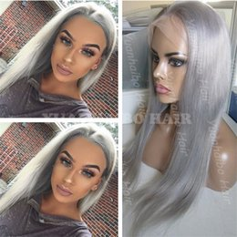 human hair lace wigs free shipping NZ - Hot Sale 8A 20inch gray remy hair silky straight malaysian human hair full lace wig for black women free shipping