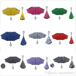 China 28 Colors Inverted Umbrellas Double Layer Windproof Inside Out Reverse Umbrella Protection for Car Outdoor Use supplier umbrella double suppliers