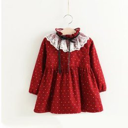 Wholesale Girls Dresses Kids Polka dots Lace Dresses Children Ruffle Collar Long Sleeve Dress Girls Christmas Princess Dress Kids Clothing