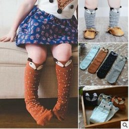 Calcetines De Medias Para Los Niños Baratos-Fox Baby Socks 3D Animal Knee High Stocking Lovely Infant Toddler Calcetines de algodón de dibujos animados Boys Girls Cute Knee High Leggings Warm Socks J434