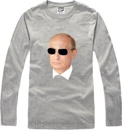 03c1c073 Wholesale-Russian President Putin cotton t shirt long sleeve 3d Printed  Putin the Great o neck black white hip hop Casual T shirt men