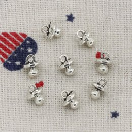 $enCountryForm.capitalKeyWord Canada - 188pcs Charms baby pacifier binky teether 9*7*6mm Antique Silver Pendant Zinc Alloy Jewelry DIY Hand Made Bracelet Necklace Fitting