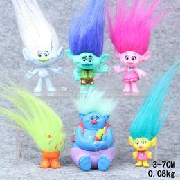 Discount trolls biggie figure - Retail 6pcs set Trolls PVC Action Figures Toys 3-7cm Poppy Branch Biggie Collection Dolls for Kid Figures Model Toys PVC