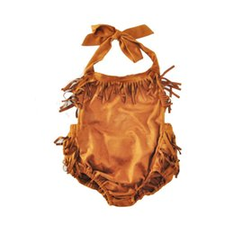 Vêtements D'été Marron Pas Cher-Tassel Vêtements pour bébés Brown Halter Ruffle Baby Girls Bodysuit Tassel Newborn Sunsuit Summer Western Girls Outfit Vêtements pour enfants