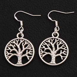 7cd05bf26 Tree life earrings online shopping - Tree Of Life Earrings Silver Fish Ear  Hook pairs Antique