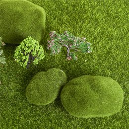 Wholesale 3PCS Set CM Green Artificial Moss Stones Grass Bryophytes Home Garden Bonsai Decoration For Garden Path