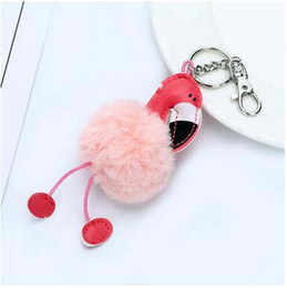 Hot Pink Party Bags Canada - Hot Sale Flamingos Fur Ball Key Chain Cut Girls Pink Key Chain Pompon Pendant For Bags Creative Cartoon Key Ring Party Favor Gift